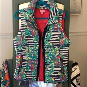 Like New Lilly Pulitzer Floral Stripe Vest
